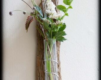 Driftwood wall hung bud vase, test tube, flower holder plus driftwood flower.