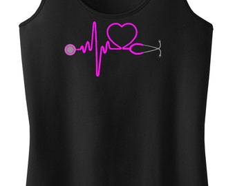 Heartbeat Stethoscope Racerback Tank Top Shirt Nurse Doctor RN CNA LVN Medical