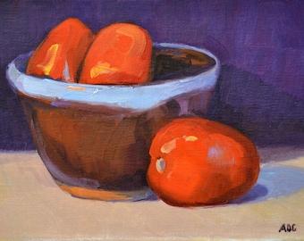 Tomato, still life, oil painting, impressionism, realism, kitchen art, small art painting