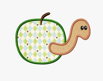 BOGO FREE! Worm in Apple applique embroidery design, Apple Machine Embroidery Designs, Embroidery designs for babies, A026