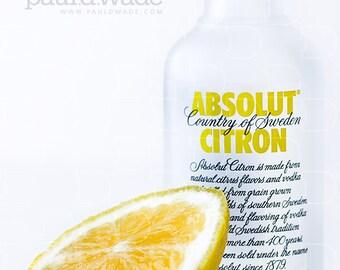 Absolut Citron - Miniature vodka bottle with lemon slice - Still Life / Food / Drink / Alcohol / Premium / Brand