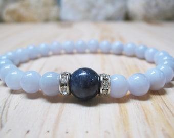 Sapphire Bracelet Chalcedony Bracelet Calming Bracelet Healing Bracelet Trhoat Chakra Spiritual Bracelet Blue Jewelry Gemstone  Bracelet