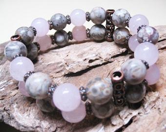 Boho Bracelet-Rose Quartz Bracelet-Ethnic Bracelet-Bohemian Bracelet-Gemstone Bracelet-Heart Chakra Bracelet-FREE SHIPPING-Romantic Bracelet