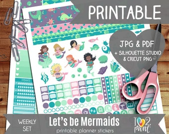 Mermaids Printable Planner Stickers, Erin Condren Planner Stickers, Weekly Planner Stickers, Mermaid Stickers, SILHOUETTE / CRIC