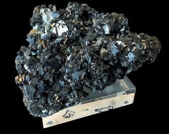 Moody Sphalerite/Quartz/Pyrite Specimen/Mounted on a Polished Lucite Base