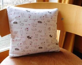 cat motif cushion