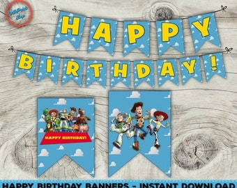 Toy Story banners, Happy Birthday banners, Toy Story decorations, Printable banners, Digital files, Instant download