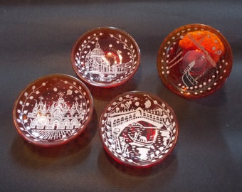 Venitian Glass Dishes, Hand Painted