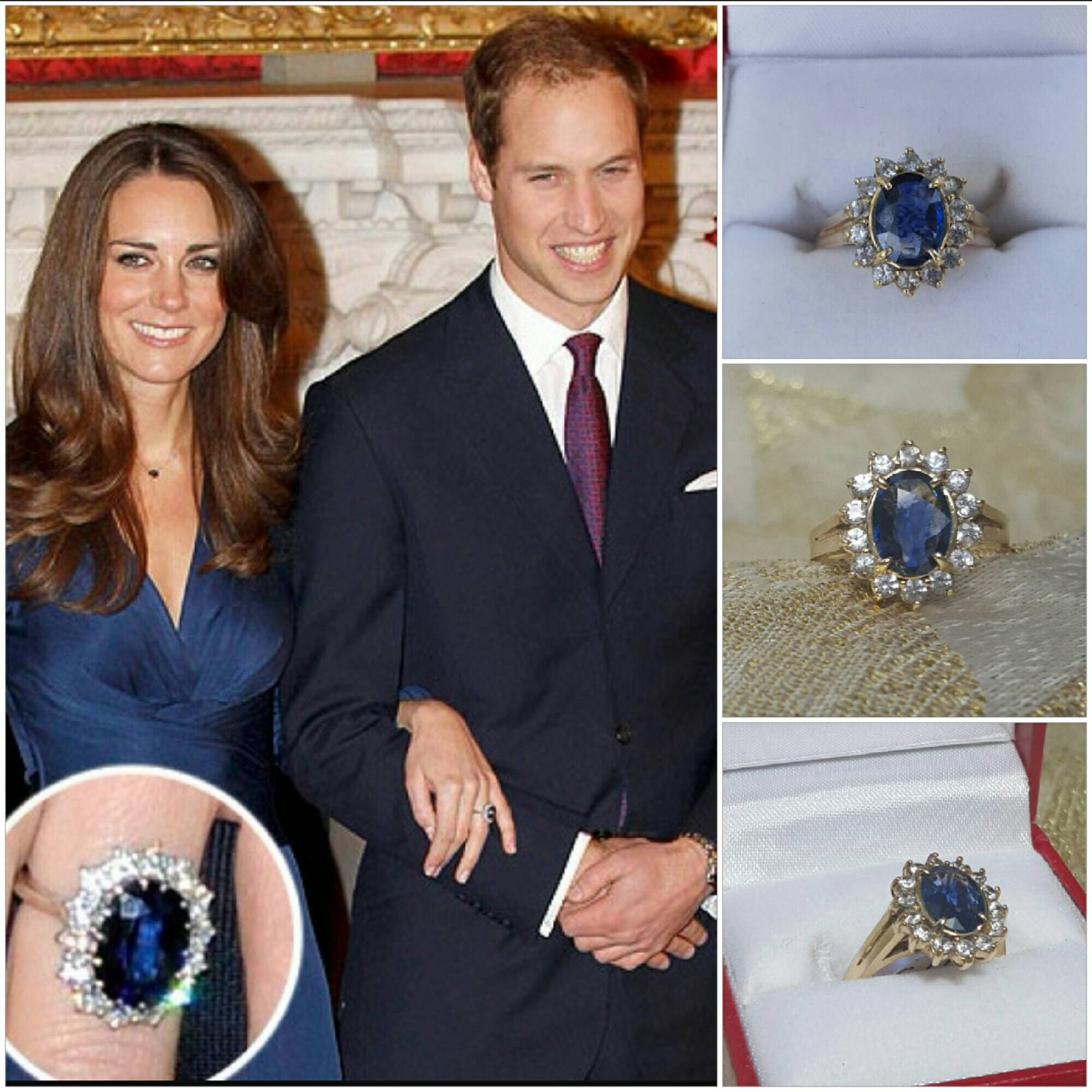 princess kate engagement ring in 14kt yellow gold with genuine