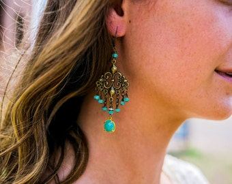 Summer Breeze...Gypsy, Bohemian, Blue, Green, Summer, Beach, Chandelier Earrings