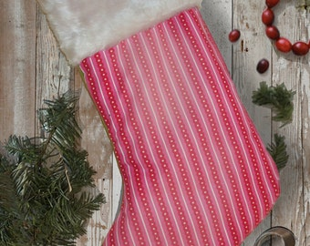 Retro 60s Inspired Pink Stripey Christmas Stocking With Fur Trim.