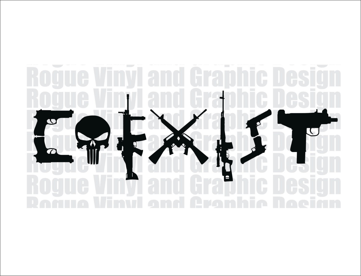 Coexist Vinyl Decal Sticker Guns Punisher Super High