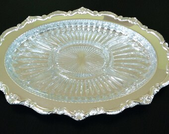 Silver Plate Relish/Veggie Tray by Leonard, Two piece Glass and Silver Oval Platter