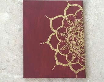 Mandala maroon and gold painting