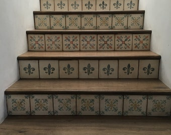Hand painted wood tiles