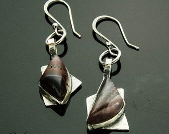 Porcelain Jasper Earrings, Sci-fi Jasper Earrings, Silver Earrings, Dangle Earrings, Purple Stone, Handmade, Artisan Jewlery