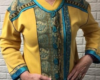 Pashmina Trimmed Sweatshirt Jacket, Ladies Sweatshirt Jacket, Women's Sweatshirt Jacket