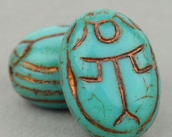 Scarab Beads - Czech Glass Beads - Egyptian Scarab - Nature Beads - Turquoise Opaque with Bronze Wash Beads - 18x12mm Beads - 4 or 12 Beads