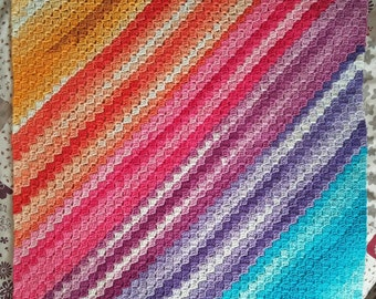 OOAK Handmade Crochet Super-Soft Rainbow Square Blanket, Throw, Afghan - Child or Baby - Approx 75cm Square