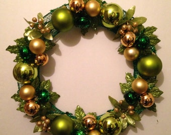Green and Gold Holiday Wreath