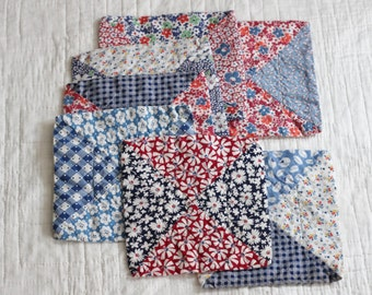 Set of 7 little vintage quilties, mostly blues