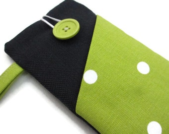 Lime Xperia cover, iPhone 5s cover,Fabric phone case, iPod sleeve, Nokia pouch,cell phone cover, dotty Galaxy  phone wallet,Sony phone pouch