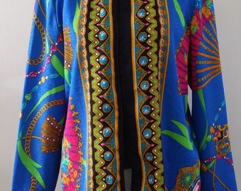 Vintage 80's Anthony Sicari Asian Inspired Oriental Fan Kimono Style Tunic SZ 10