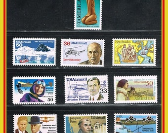 10 Mint US Airmail Postage Stamps - MNH