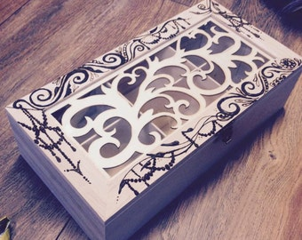 Decorated wooden box, Henna wooden box