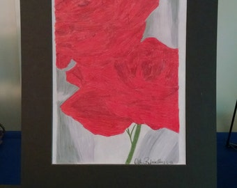 Double Red Rose print 8x10 matted to 11x14