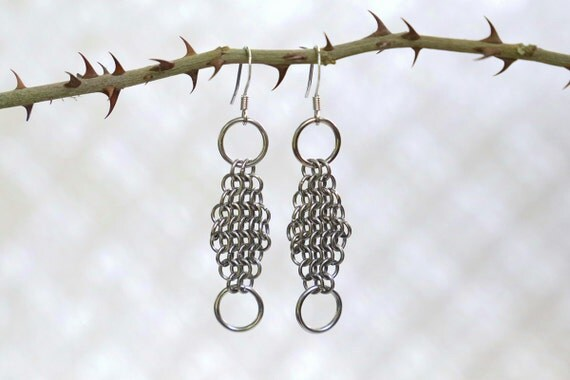 Diamond European 4 in 1 Chainmaille Earrings - Gothic Chainmail Earrings - Gothic Medieval Jewelry - Maille Armor Earrings - Viking Jewelry