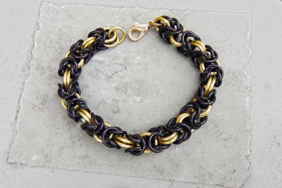 Black & Gold Byzantine Chainmaille Bracelet