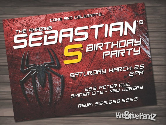 The Amazing Spiderman birthday invitation personalized printable invite for boys of any age