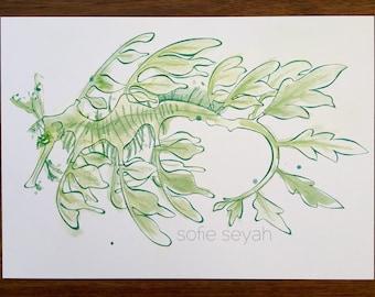 Green Leafy Seadragon - Ink and Watercolour Nautical Illustration - Nursery Art - A4 Art Print