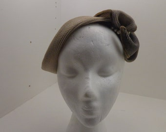 Vintage Straw Mini Hat with Pearl Bead Trim