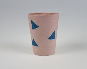 Geo Cup - Pink Porcelain with Blue Triangles