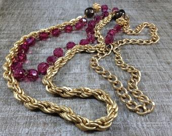 Gorgeous Vintage Style Double Strand Fuscia Brown Bead Gold Tone Necklace