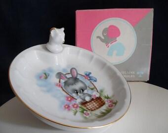 Davis base baby vintage year 70' in its original box. baby gift birth infants limoges porcelain old heating