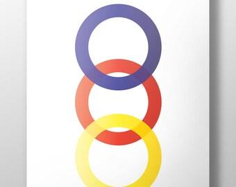Bauhaus poster, 3 circles, primary color print, circles,yellow, red & blue circles, mininalist art print, instant download, #L111