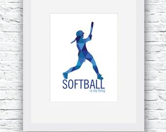 Softball Wall Art, Softball Print, Softball Gift, Softball Decor, Softball Digital Print, Printable Softball Wall Art, Softball Blue Decor