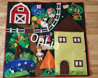 Big Developing Play Mat, Felt Play Mat, Activity, Montessori,Quiet Time Mat,House,Farm,Barn,Gift ***LAST PRICE***