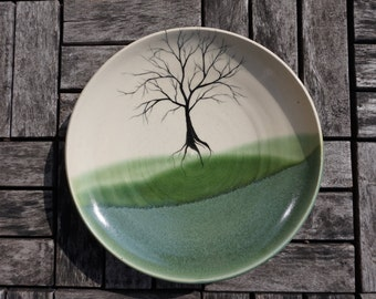 Tree Green Ceramic Dinner Plate