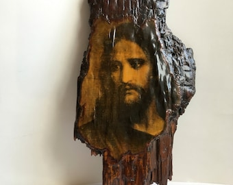 Vintage Decoupage Plaque on Rough Hewn Tree Wood Slab/Slice with Jesus' face-Religious-Catholic/Christian Home Decor