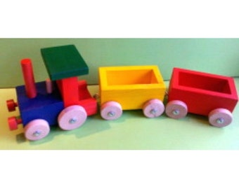 "19,7"" Jolly wooden train for little builders"