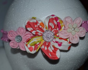 Pink and Multicolored Flower Headband