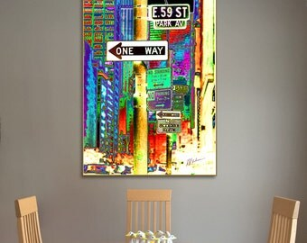 NY STREET SIGNS, Fine Art Print, Giclee, Archival, Poster, City, New York, Vivid Color, Signs,