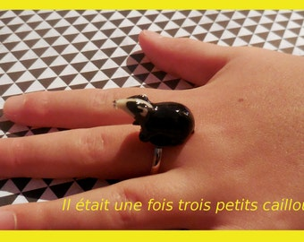 """Adjustable ring """"small Badger black and white"""""""