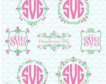 Floral Monogram Frames svg Floral Frames svg Tulip Frames svg Spring Monogram Frames svg Spring Frames svg dxf eps jpg svg cut files