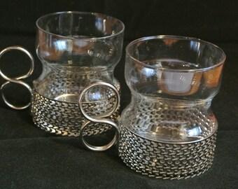 Beautiful pair of mid century Tsaikka tea glasses by Timo Sarpaneva for IIttala Finland
