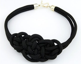 Black Large Open Knot Rope Necklace